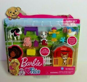 Barbie Pets 10pc FARM Playset Dog House Pig Cow Rooster Weather Vane New Box Dmg