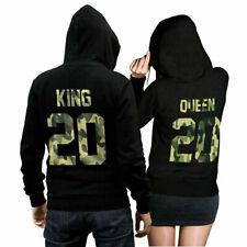 King Queen set 2 hoodies set suéter con camuflaje inscripciones pareja regalo