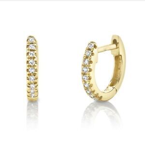 14K Yellow Gold Diamond Huggie Earrings Tiny Helix Hoop Natural Round Cut 0.04CT