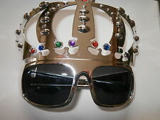 SILVER CROWN NOVELETY GLASSES- ELVIS FANCY DRESS- ROCK N ROLL- ROYAL PARTY
