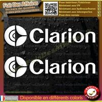 2 Stickers Autocollant clarion car audio system decal sponsor autoradio tuning