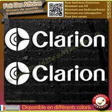 2 Stickers Autocollant clarion car audio system decal sponsor autoradio tuning