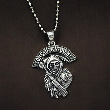 Men's Stainless Steel Sons of Anarchy Skull Pendant Chain Grim Reaper Necklace
