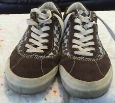 Simple New Vintage Pedbed Brown Suede Checkered Light Blue Women Size 8 Shoe