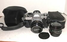Canon AT-1 35mm film camera with 50mm f1.8 FD-SC lens & FD 28mm 1:2.8 Case  pj