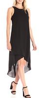 Karen Kane 2L25371 Black Rosewater Asymmetric Hi-Lo Hem Chiffon Dress - $129