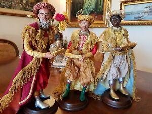 3 PASTORI PASTORE Napoletani presepe San Gregorio Armeno 700 RE MAGI OCCHI VETRO