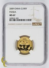 2009 G100Y China 1/4 Oz. Gold Panda Graded by NGC as MS-67! Gorgeous Bullion