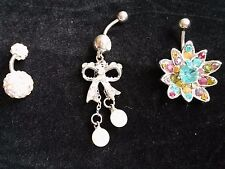Lot of 3 Belly Navel Ring-White Bow Dangle Peal+Multi Color CZ Flower+CZ Ferido