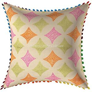 Cotton Sofa Cushion Covers Multi Color Embroidery Pom Pom Floral Pillow Covers