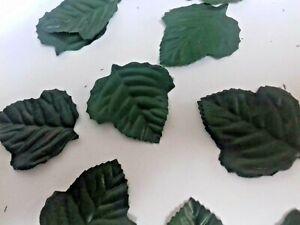 100  shaped SILK ROSE LEAVES DARK GREEN TABLE/ WEDDING/CRAFT/BUTTONHOLE