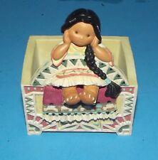 "Karen Hahn Enesco Friends of a Feather Girl Figurine Sitting on Box 4.5"" 1998"