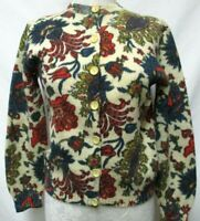 Jane Irwill Vintage Cardigan sweater floral 1960's waist length Size Medium Md M