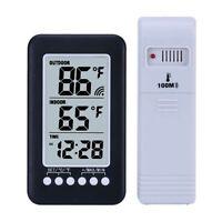 NEW Indoor Outdoor Thermometer Clock Temperature Meter Wireless Transmitter US