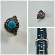 Handmade Domed Turquoise Ring Vintage Native American Sterling Silver