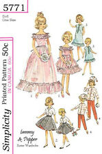 Vintage 12 and 9 inch tammy and pepper doll clothes sewing pattern
