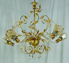 CLASSICO LAMPADARIO LAMPADA FOGLIA ORO 5 LUCI LED VETRI CRISTALLO MURANO ART.L15