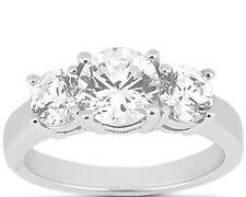 3 carat, 3 Stone Round Diamond Wedding Engagement Ring 1.50 center 2 x 0.75 ct