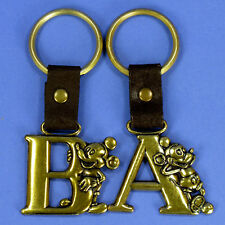2 VINTAGE DISNEY MICKEY MOUSE INITIAL KEY CHAIN RING choose two A's,B's or A&B
