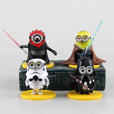 Minions x Star Wars 4 PCS Mini Figures: Stormtrooper Darth Maul Vader Skywalker