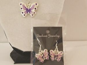 Handmade Purple Enamel Rhinestone Butterfly Necklace & Earrings Set - Jewelry