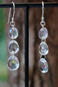 Clear Quartz Triple Drop Fine Sterling Silver Earrings 2 inch Drop Silver