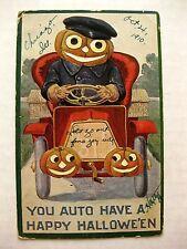 Rare 1910s Halloween Postcard Pumpkin Head Man Driving 1910s Style Car