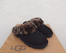 UGG COQUETTE BLACK LEOPARD SHEEPSKIN SLIPPERS, US 8/ EUR 39 ~ FITS US 9 ~NIB