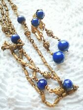MIRIAM HASKELL Gold Gilt Brass Cobalt Blue Glass Bead Station Necklace & Dangle