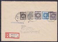 SBZ MI Nr. 51, 52, 58, 45 D III, 49 D III MiF R-Brief Dresden - Berlin 1946