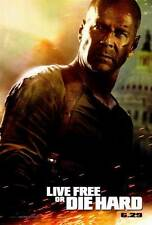 LIVE FREE OR DIE HARD Movie POSTER 27x40 Bruce Willis Timothy Olyphant Maggie Q