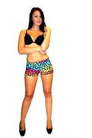 Ladies Multi Leopard Animal Print Shorts, Hot pants Fancy Dress Goth Punk Emo