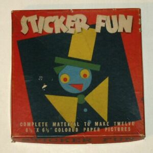 Rare 1940 STICKER FUN Activity Set! Make Colored Paper Pictures! (Whitman #315)