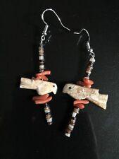 Handmade Zuni Fetish Birds Earrings Shell Heishi Red Coral Sterling Silver