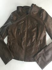 New Look Faux Leather Hooded Jacket Brown- Sz Small