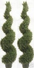 "TWO ARTIFICIAL TOPIARY OUTDOOR ROSEMARY TREE 64"" SPIRAL PLANT ARRANGEMENT FLOWER"