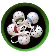 """Lenox Kate Spade Larabee Road 2.5"""" Ornament Set 5Pc Polka Dot New In Box"""
