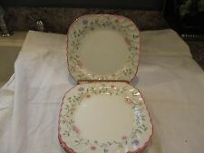Johnson Bros - Made England - Square Luncheon Plates (4) - White Swirl - Floral