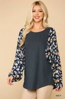 GIGIO By UMGEE Size Medium Navy With Floral Printed Dolman Sleeve Round Hem Top