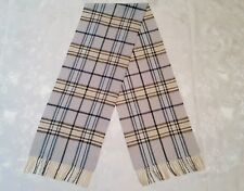 GERMANY VINTAGE AUTHENTIC PLAID & CHECK BLUE WOOL LONG MEN'S FRINGE SCARF