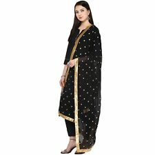 Black Chiffon Dupatta Long Scarf Veil Party Pakistani Wedding Designer Stole