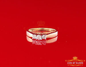 14K Real Yellow Gold with 0.25CT Real Diamond Ladies Ring Size 7