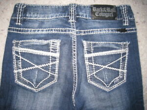 Rock and Roll Cowgirl Jeans Bold Stitching 26 X 34 EUC