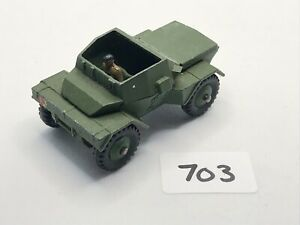 VINTAGE DINKY TOYS # 673 SCOUT CAR + DRIVER ARMY MILITARY VEHICLE DIECAST 1959
