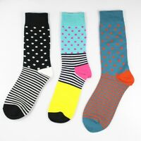 3 Pairs Mens Cotton Socks Lot Fashion Brand Stripe Dots Casual Happy Socks 9-11