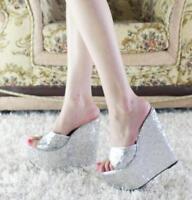 Womens Sequins Platform Wedge High Heels Slippers Peep Toe Beach Shoes Sandals