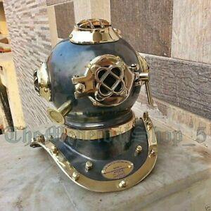 X-Mas Gift Us Navy Mark Iv Full Brass Scuba Deep Sea Divers Diving Helmet