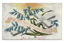 Vintage postcard 'May His Love Give You Peace' An Easter Wish, bluebells.