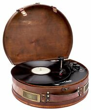 ClearClick Vintage Suitcase Turntable with Bluetooth & USB Classic Wooden Style