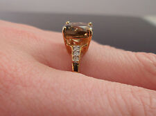 9ct Gold Smokey Quartz and Diamond Ring size P1/2  Chocolate colour smoky quartz